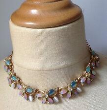 collier ancien couleur or cristaux navette opaline rose et bleu top qualité /111