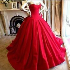 Elegant Ball Gown Wedding Dresses Gothic Red Satin Bridal Gown Custom Made