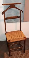 Mid Century Fratelli Reguitti Italy walnut & rope folding butler vanity chair***