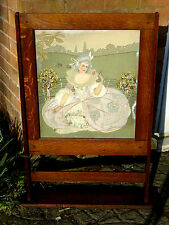 "LARGE VICTORIAN HAND EMBROIDERED PANEL FIRE SCREEN WITH OAK SURROUND 40"" X 30"""