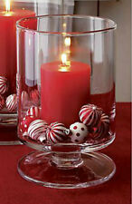 2Pc Glass Hurricane Candle Lantern Christmas Candle Holder Table Centrepiece