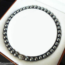 Pretty 10mm Black Seashell Pearl Round beads Necklace 18inch AAA+