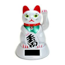 SOLAR POWER BECKONING CAT White Wealth Lucky Waving Kitty Maneki Neko Fortune