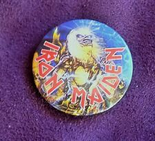 IRON MAIDEN VINTAGE 30mm METAL PIN BADGE FROM 1985 MADE IN ENGLAND