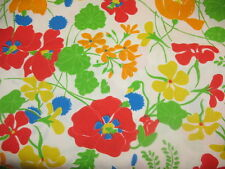 "Vtg 1970s Mod Hippie Flower Power neon Poppies cotton / poly fabric 2 yd 44"" w"