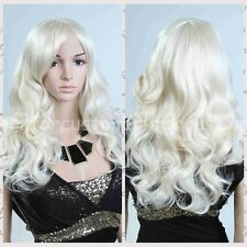 Fashion Long Anime Wigs Cosplay Party Body wave Hair Womens White Hair Full Wig