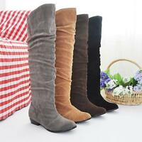 Winter Womens Ladies Stretch Comfort Low Heel Knee High Boots Shoes UK SIZE1.5-8