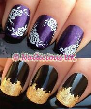 NAIL ART SET #138 WHITE LEAF FLOWERS WATER TRANSFERS/DECALS/STICKERS & GOLD LEAF