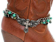 Western Cowgirl Jewelry Antique Silver Faux Turquoise Winged Cross Boot Bracelet