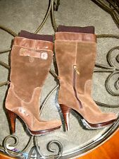 GUESS Brown Suede Leather High Heel Boots Size 6.5 M HOT!!!