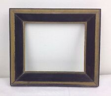 Vtg 5x6 Mid Century Small Deep Picture Frame Wood w Orig Black & Gold Finish