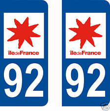 2 STICKERS AUTOCOLLANTS PLAQUE D'IMMATRICULATION DEPARTEMENT 92 Hauts de Seine