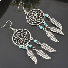 1Pair Retro Silver Dreamcatcher Leaf Bead Earrings Perfect Nice Gift Fashion New