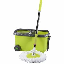 Spin Mop With Wheels & Hand Carry Foldable Extendable Handle & Bucket System