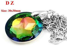 c006373 Colorful Crystal Faceted Glass Round Shape Bead Pendant Necklace Jewelry