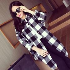 Fashion Women's Korean Version Shirt Long Sleeve Casual Plaid Blouse Tops