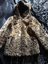 Girls Faux Fur Leopard Print Coat Age 10-11years