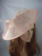 Nude Pink Large Sinamay Saucer Fascinator With Net Detail - Wedding Races