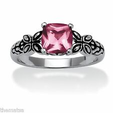 JUNE ALEXANDRITE STONE ANTIQUED BUTTERFLY SCROLL STERLING SILVER RING 5 6 7
