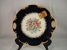 Porcelain Decor Main Limoges Small Handled Cake Plate Gold Gilded Floral Signed