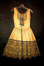 EDWARDIAN ART DECO ERA 1910/20's ELABORATE PASSEMENTERIE LACE TEA DRESS, FRENCH