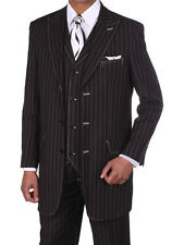 Men's 3 pcs Wool Feel Classic Gangster Pinstripe Suits with Vest 5903 BLK/WHT