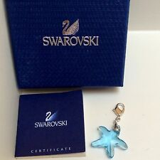 GENUINE SWAROVSKI® CRYSTAL CHARM W/ SIGNED LOBSTER CLASP~ BLUE STARFISH