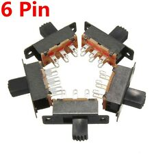 5 Pack Black 0.5A 2 Position On/On DPDT Power 6 Pins Mini Miniature Slide Switch