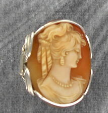 BIG VINTAGE ANTIQUE SHELL CAMEO RING  CARVED IN ITALY STERLING SILVER