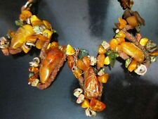 Vintage yolk natural amber stone necklace butterscotch toffee Baltic amber 48g