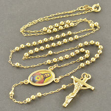 Free Shipping 18K Gold Filled Womens Mens Rosary Pray Beads Jesus Necklace