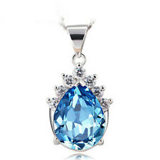 Women's Blue Crystal Pendant Necklace 925 Sterling Silver Chain Fashion Jewelry