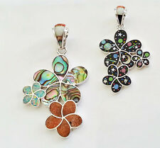 TRIPLE FLOWERS CELESTIAL MULTICOLOR SPINY OPAL LAPIZ INLAY .925 SILVER PENDANT