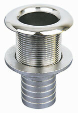 "Stainless Steel Boat Thru Hull Fitting With 3/4"" Hose End"