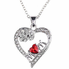 Charm Mother's Day Gift for Mom Red Crystal Rhinestone Heart Pendant Necklace