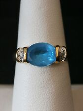 Unique 10k Yellow Gold Aquamarine and Diamond Cocktail Ring  Make Offer!  #1625