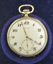 SUPERB! ZENITH GRAND PRIX 1900 14K .585 GOLD OPEN FACE POCKET WATCH - CASED