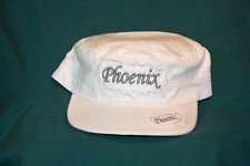 """White Corporal style hat with  """"Phoenix"""" embroidered"""