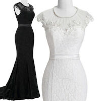 Masquerade Black Lace Ball Gown Bridesmaid Wedding Long PROM Dress Evening Party