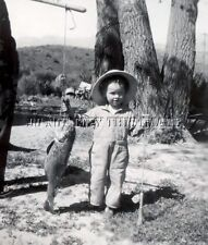 ANTIQUE REPRINT FISHING 8X10 PHOTOGRAPH BOY WITH ROD REEL & BIG FISH