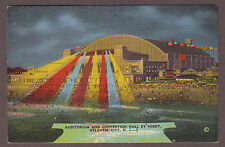 Auditorium and Convention Hall By Night Atlantic City New Jersey Linen Postcard