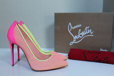 sz 7.5 / 38 Christian Louboutin Follies Pink Lace Raphia Pointed Toe Pump Shoes
