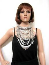 STATEMENT LONG BEADED GLAM RHINESTONE CLUSTER DRAPE BIB FRONT NECKLACE SILVER