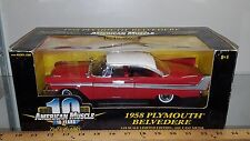 1/18 ERTL AMERICAN MUSCLE 1958 PLYMOUTH BELVEDERE RED rd