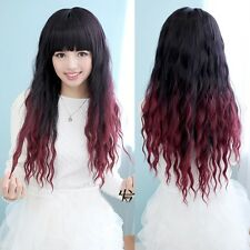 Lady Anime Wig Long Black+Red Curly Wavy Gradient Hair Cosplay Party Full Wigs