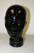 BLACK GLASS FULL SIZE MANNEQUIN HEAD FOR DISPLAY OR DECOR 11 1/2""