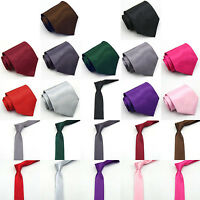 New Plain Solid Tie 2 Sizes Men/Boy Quality Multiple Colour Formal Wedding Party