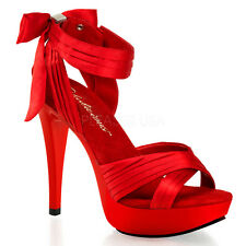 Red Satin Platform Heels Salsa Dance Drag Queen Crossdresser Shoes 11 12 13 14