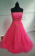 EUC Hot Pink Sz 14 Quinceanera Dress Formal Prom Party Ball Gown Tulle Fuschia