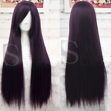 Fashion 80cm Long Straight Hair Wigs Cosplay Party Black Purple Wig